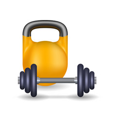 black barbell and yellow weight vector image