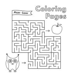 cartoon owl maze game vector image vector image