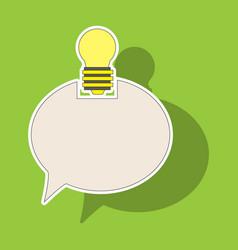 Sticker speech bubble and lamp idea doodle cute vector