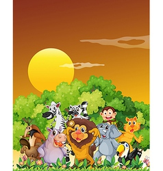 A group of animals at the forest vector image