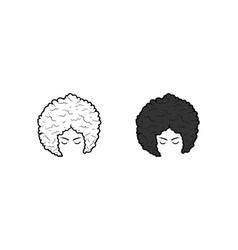 afro woman hand drawn sketch and color vector image