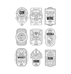Alcohol labels set gin lager wine tequila vector