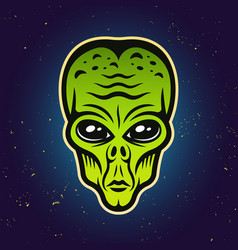 Alien green head colored vector