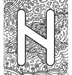 Ancient scandinavic rune hagall with doodle vector