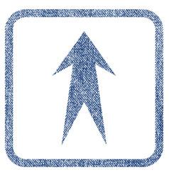Arrow up fabric textured icon vector