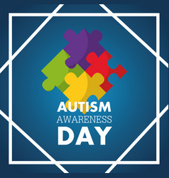 Autism awareness day invitation card puzzle pieces vector
