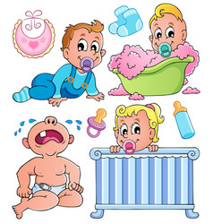 Babies theme collection 1 vector