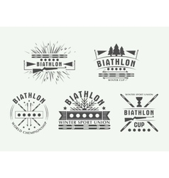 Biathlon logo Set Winter vector