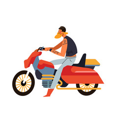 biker man sitting on red motorcycle side view vector image