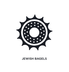 black jewish bagels isolated icon simple element vector image