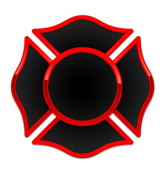 blank fire department logo base black and red vector image