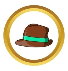 Brown retro hat icon cartoon style vector