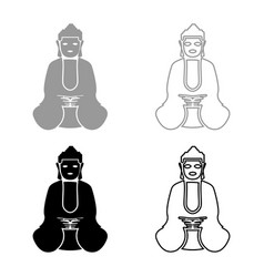 buddha icon set grey black color vector image