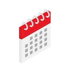 calendar icon in isometric style isolated on vector image