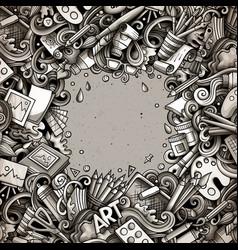 Cartoon doodles art card monochrome vector