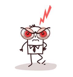 Cartoon man with big angry eyes vector