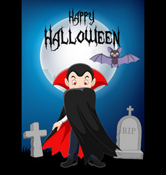 Cartoon vampire character with halloween backgroun vector