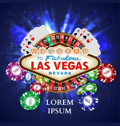 Casino roulette playing cards wit falling chips vector