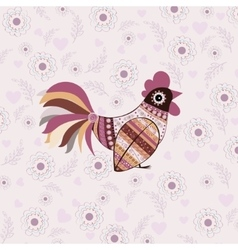 Cock bird ethnic pattern vector image