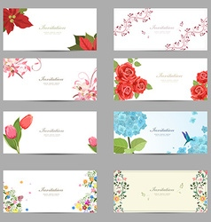 Collection of cute invitation cards with flowers vector