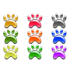Color paw prints icon vector