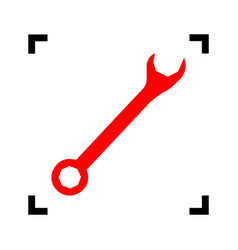 crossed wrenches sign red icon inside vector image