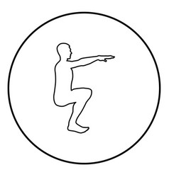 Crouching man doing exercises crouches squat vector