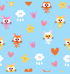 Cute kittens clouds and flowers seamless pattern vector