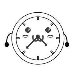 Cute wall clock kawaii vector