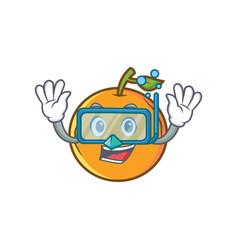 diving orange fruit cartoon character vector image