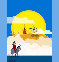 Don quixote and sancho panza riding on windmills vector