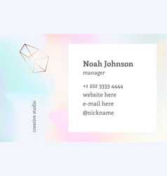 double-sided business card template crystal logo vector image