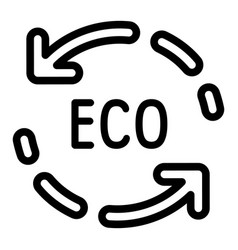 Eco recycle arrow icon outline style vector