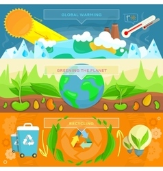 Ecology Banner Set design Flat vector