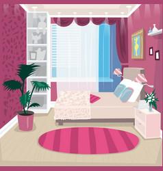 Empty pink children room for girl vector