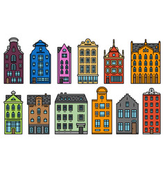 europe house and apartments set of cute vector image