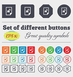 File unlocked icon sign big set of colorful vector