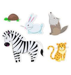 friendly cartoon wild animals isolated stickers vector image