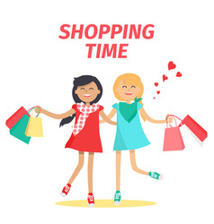 Friends shopping time flat concept vector