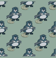 Funny beaver seamless pattern vector