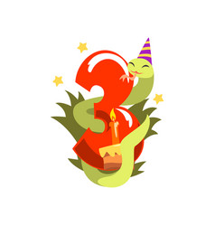 funny snake in party hat and number three happy vector image