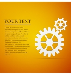 Gear flat icon on yellow background Adobe vector