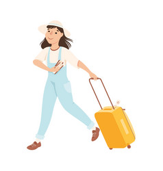 girl tourist hurrying to flight at airport young vector image