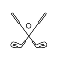 golf ball and clubs linear icon vector image