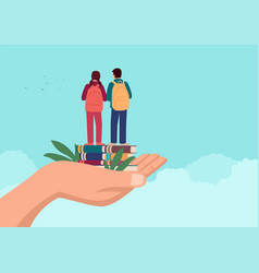 hand holding two children standing on books vector image