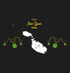 Happy new year theme with map of malta vector