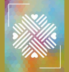 heart shaped ornament over multicoloredbackground vector image