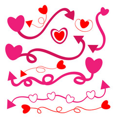 Heart with arrow and line on white background vector