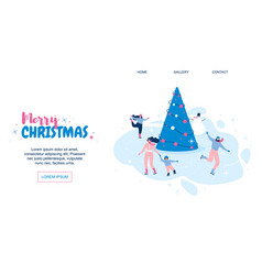 horizontal flat banner marry christmas vector image