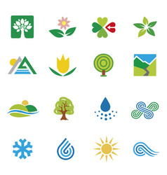 icons nature landscape weather vector image